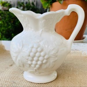 Lovely Small White Ceramic Pitcher Made In Japan
